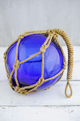Glass Float with Rope Dark Blue 6in