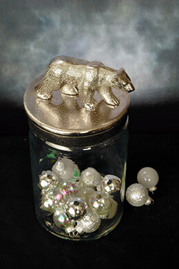 Glass Jar with Bear Lid 8in