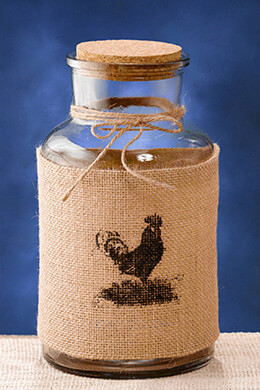 Burlap Wrapped Glass Jar 10in