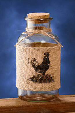 "Burlap Rooster 8"" Bottle with Cork Top"