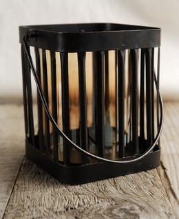 Glass & Metal Square Hanging Candle Holders