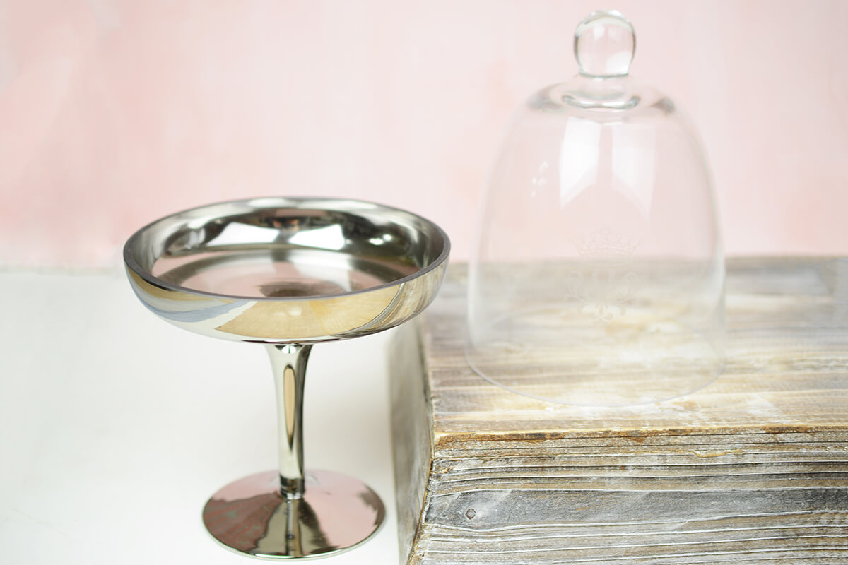Glass Pedestal w/Cloche 10in Silv/Clr
