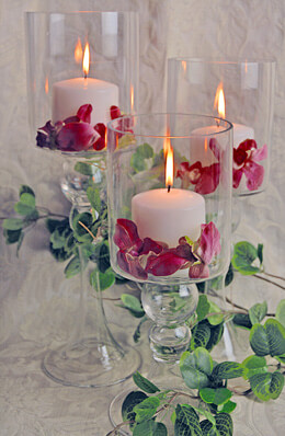 3 Glass Pillar Candle Holders