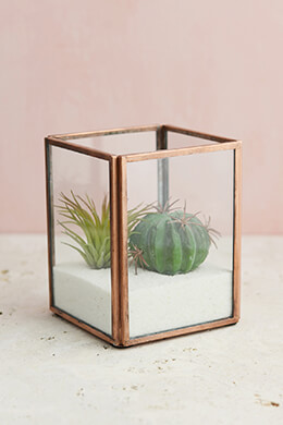 Glass Terrarium Display Case Copper Small