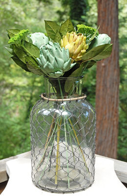 Glass Vase with Wire 12in