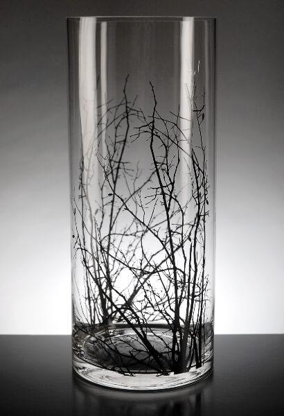 Birch Tree Branch  Clear Glass Cylinder Vase 14in