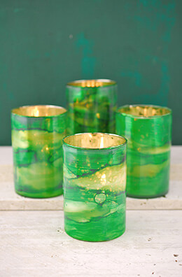 Glass Votive Holder Green 4in (Set of 4)
