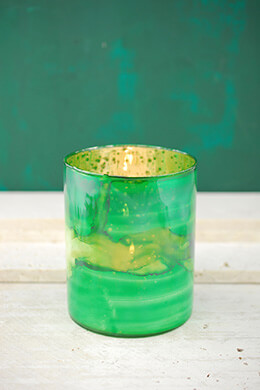 Glass Votive Holder Green 5in