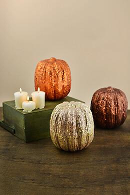 Glitter Pumpkins 6in (Set of 6)