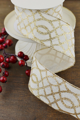Gold & White Lattice Print Wired Ribbon 2.5in x 10yd