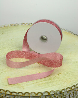 Glitter Ribbon Pink 7/8in x 25yd