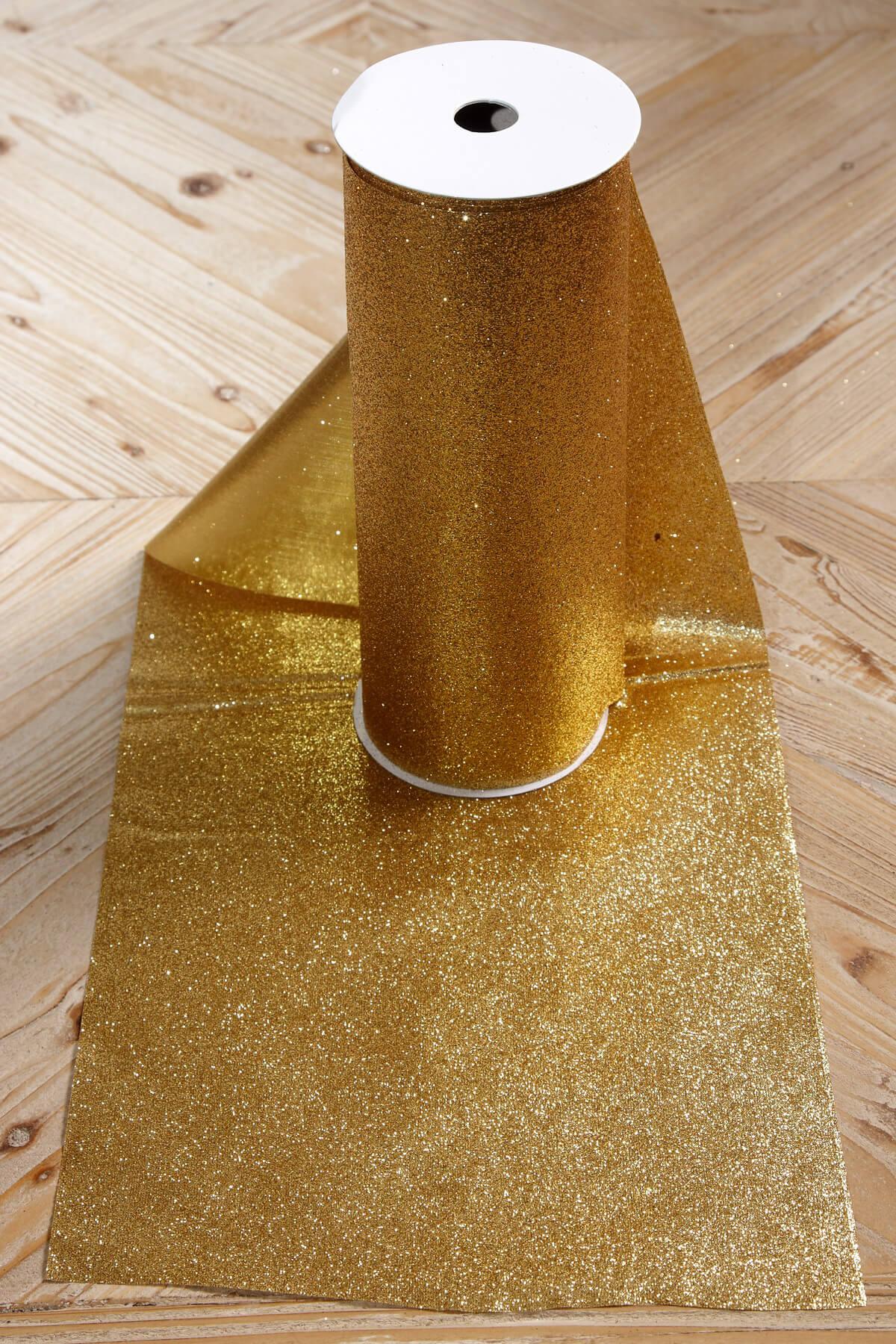 Glitter Ribbon Runner Gold 10in X 9ft