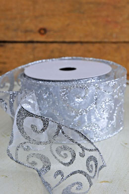 Sheer Wired Silver Glitter Swirl Christmas Ribbon  2.5in x 24ft