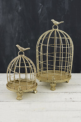"2 Champagne Glittered Bird Cages  9"" & 13"""