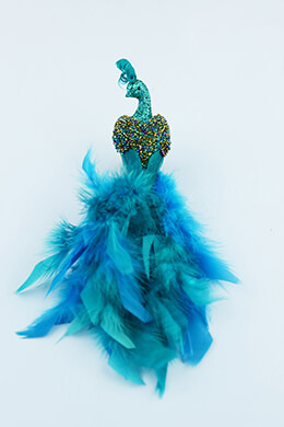 Glittered Peacock 11in