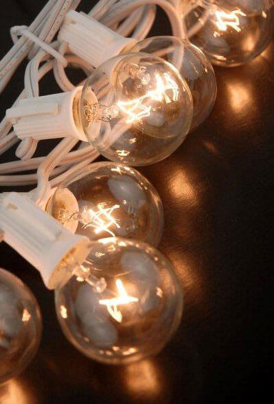 Globe String Lights White Cord : Paper Lantern Lights, Globe Light 10 Socket G40 Clear Bulbs, 12 Ft, White Cord, E12 C7 Base