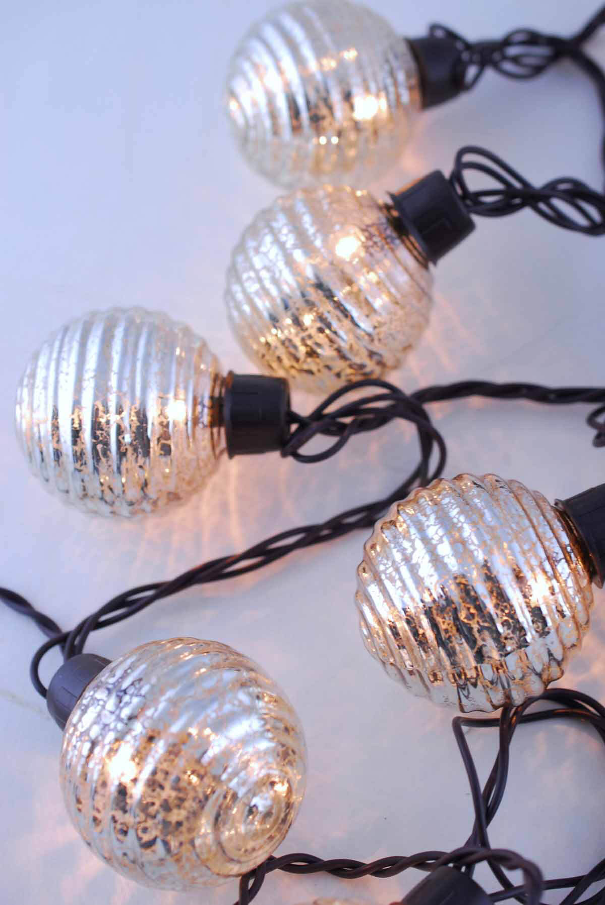 Glass String Lights Outdoor : Globe Lights Mercury Glass String Light End to End 6ft - 10ct Outdoor