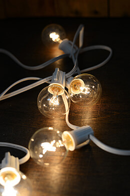 Globe String Lights White Wire 9ft - 10ct- 12in Spacing