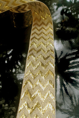 "Metallic Gold Chevron Ribbon 1.5"" x 25 yards"
