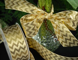 "Gold Metallic Chevron Ribbon 1.5"" x 25 yards"