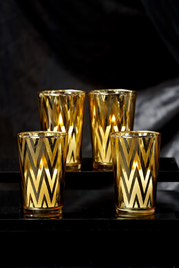 Gold Chevron Votive Holders 4in (Set of 4)