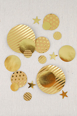 My Mind's Eye Kraft Style Confetti, 100 Pre-cut Circles and Stars, Gold