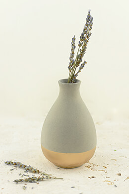Gold Dipped Clay Vase Grey 4.75in