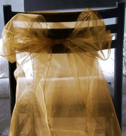 Organza Chair Sashes Gold Pack of 10