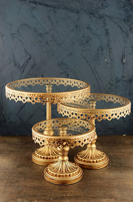 3 Gold Metal & Glass Cake Stands