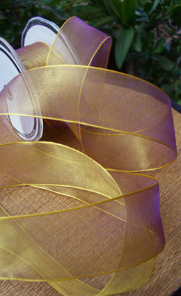 Gold & Purple Organdy Wired Ribbon 1.5in x 9yds