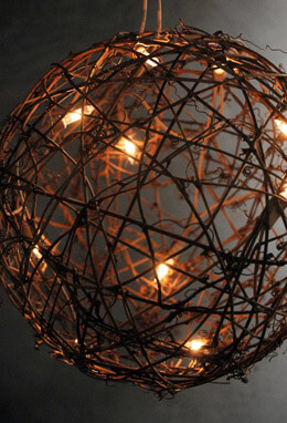 9 Grapevine Ball with Lights Plug In