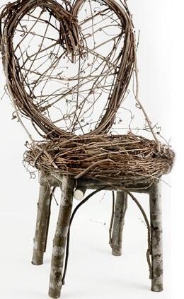 Handmade Grapevine & Birch Heart Back Chair 24in