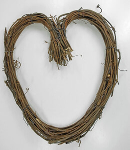 "Handmade Grapevine 14"" Heart Wreath"