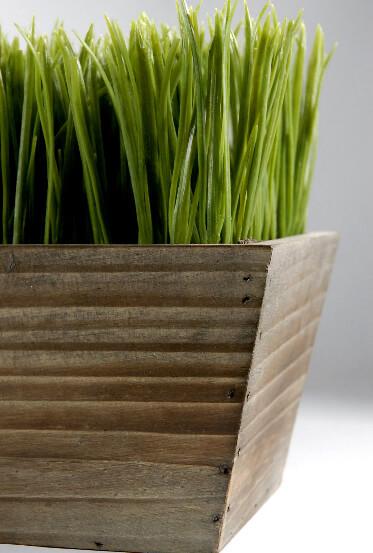 """Wood Planter Box 24"""" Grass Centerpiece"""