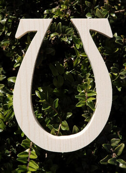 "Greek Letters Omega Pine 3/4"" thick 6"" tall"