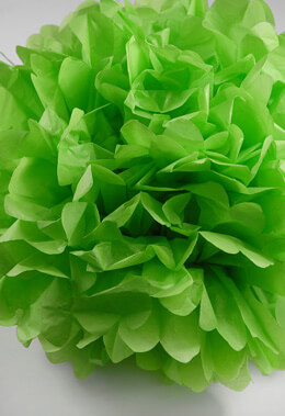 "4 Tissue Paper Pom Poms Flowers 16""  Green"