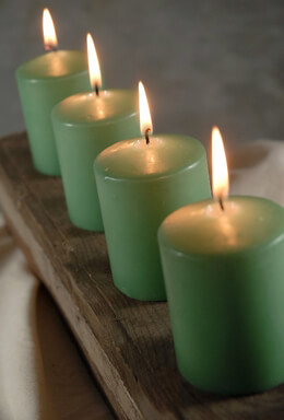 Unscented Pillar Candles Green 3in (Pack of 4)