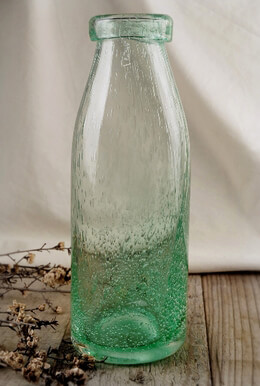 Milk Bottle Green Bubble Glass