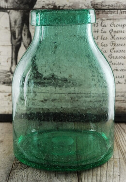 Green Bubble Glass Milk Jug