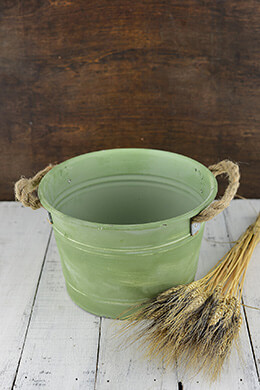 Metal Bucket Green 10x6.5in