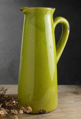 "Dinova Jug Ceramic Pitcher Vase Green 8""x 6""x 14"""