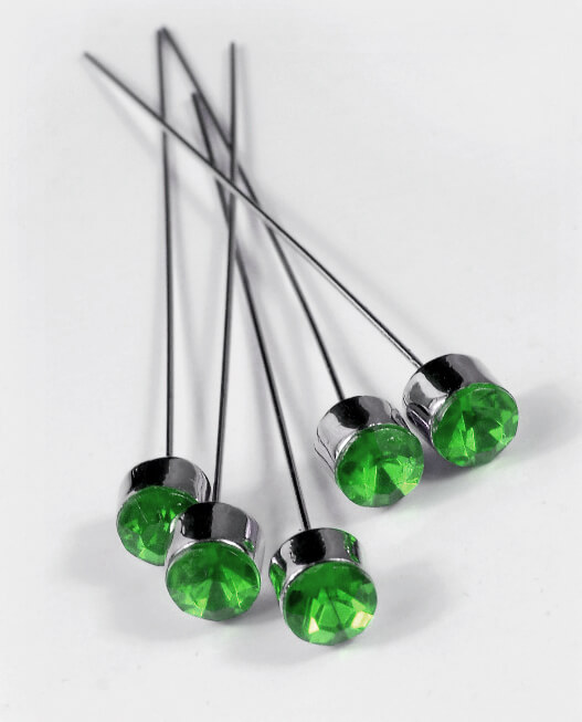 Green Crystal 3 in. Corsage Pins (5 pins/pkg )