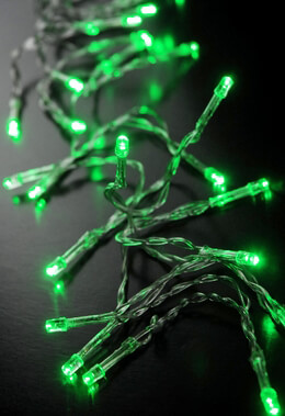 Green LED Battery Operated Lights 30 Lights Clear Wire (130in)