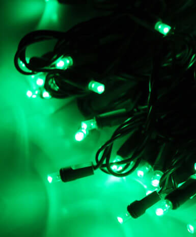 Green LED String Lights | 70 Bulb