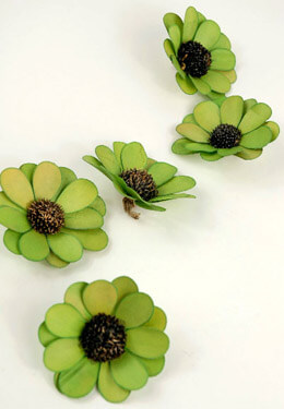 18 Handmade Chartreuse Green Palm & Thistle Daisy Flowers