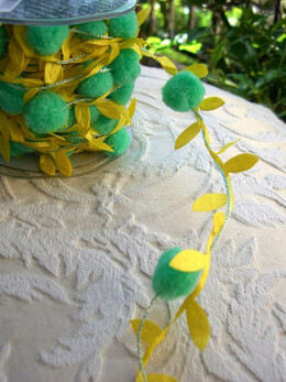Green Pom Pom with Yellow Satin Leaf Garland Wired Ribbon 11 yards