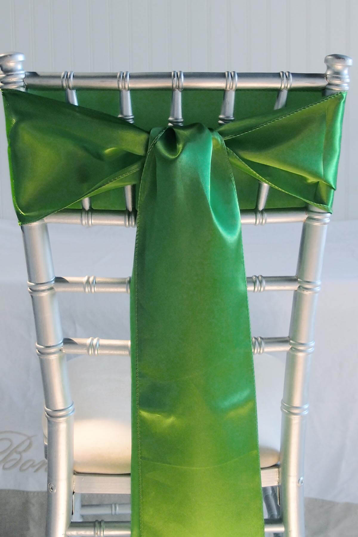 10 Green Satin Chair Sashes   6x106