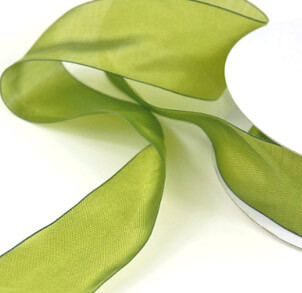 Ribbon Two Tone Green 1.5in x 25 yards