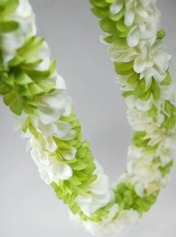 Green & White Silk Ginger Flower Tropical Leis