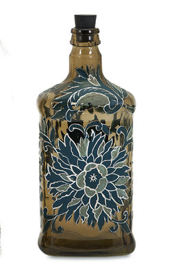 Hand Painted Teal Blue & Amber Bottle